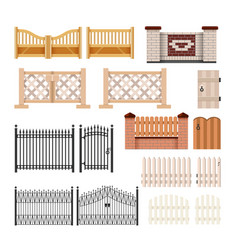 Set of fences - modern realistic isolated vector