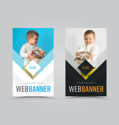 set of vertical web banners with arrows and a vector image