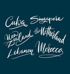 singapore and lebanon hand written typography vector image