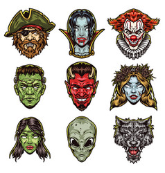 Spooky halloween characters colorful set vector