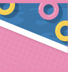 Summer background with inflatable rings vector