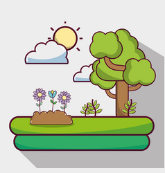 Sun weather with clouds and tree nature vector
