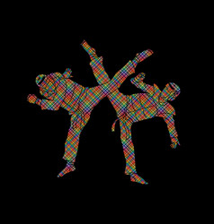 Taekwondo fighting designed using colorful pixels vector