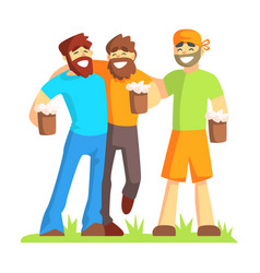 Three friends with bushy beards drinking beer vector