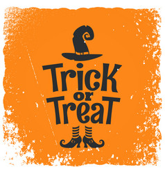 Trick or treat halloween witch lettering vector
