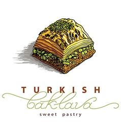 Turkish baklava sweet pastry vector