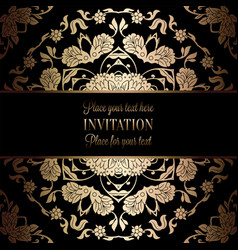 vintage baroque wedding invitation template vector image