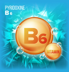 vitamin b6 pyridoxine vitamin gold oil vector image
