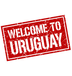 Welcome to uruguay stamp vector