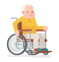 Wheelchair Old Man Character Sit Adult Icon vector image