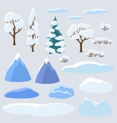 Winter set trees mountains and hills seasonal vector