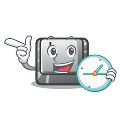 with clock button l in mascot shape vector image