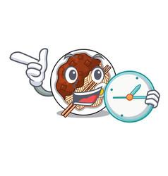 With clock jajangmyeon in a cartoon shape vector