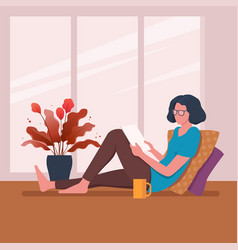 woman sits near window and reads vector image