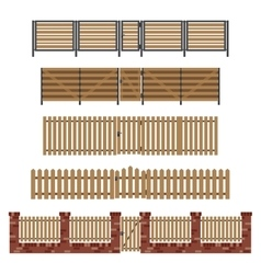Wooden fences and gates vector