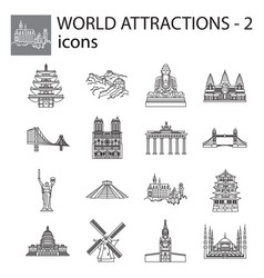 World attractions icon line linear set black vector