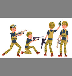 young army soldier man poses ready for vector image