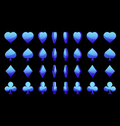 blue 3d symbols poker cards animation game vector image vector image
