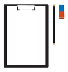 Clipboard with pencil and eraser vector image