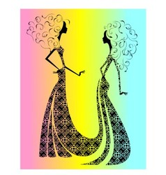 Silhouette of two beautiful girls vector image