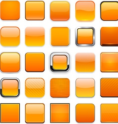 Square orange app icons vector image vector image
