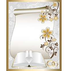 Wedding card with a floral pattern and book vector image