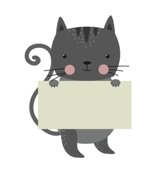 Cat pet animal holding clean welcome white board vector