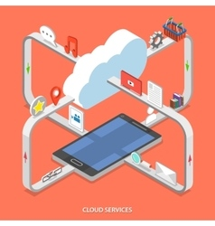 Cloud services flat isometric concept vector image