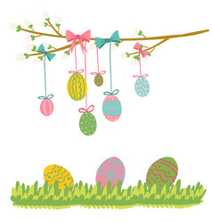 easter egg hanging on tree vector image vector image