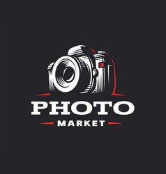 photo camera logo - vintage vector image