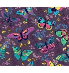 Seamless pattern with flying colorful butterflies vector image