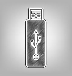 usb flash drive sign pencil sketch vector image vector image