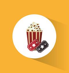cinema pop corn tickets movie vector image