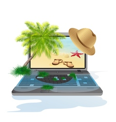 Isolated laptop with seascape vector