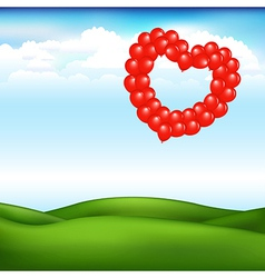 Landscape With Balls In Form Of Heart vector image