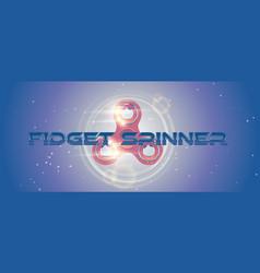rotating fidget finger spinner web banner with vector image