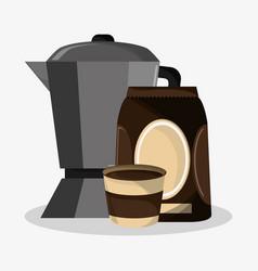 set metallic jar and bag of coffee vector image