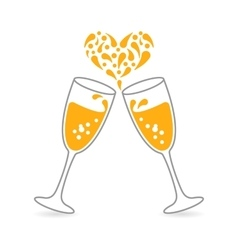 Wineglasses of sparkling champagne for happy vector