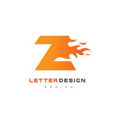 z letter flame logo design fire logo lettering vector image vector image