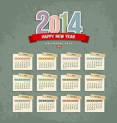 2014 Calendar paper design vector image vector image