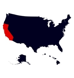 California State in the United States map vector image