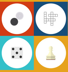 flat icon entertainment set of guess chequer vector image vector image