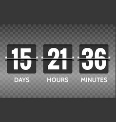 flip countdown timer numbers on transparent vector image