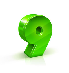glossy green nine 9 number 3d on vector image vector image