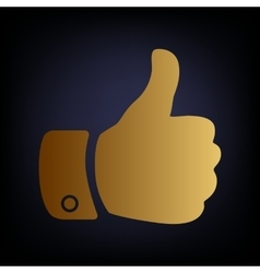 Hand sign Golden style icon vector image