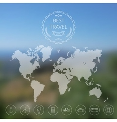 Map on blurred background vector image