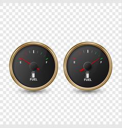 3d realistic golden circle gas fuel gauge vector image