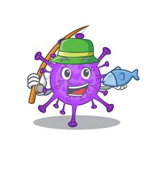 A picture funny fishing bovine coronavirus design vector