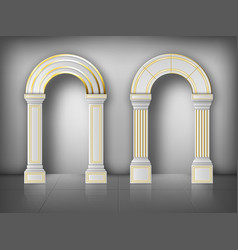 Arches with columns in wall white gold pillars vector