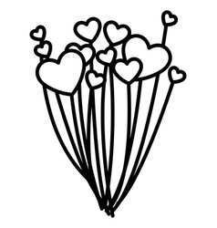 balloons helium with hearts shape vector image